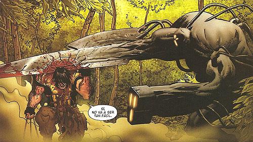 """Lobezno puede perder la cabeza contra las furias. Viñeta de """"Astonishing X-men: Xenogenesis"""""""